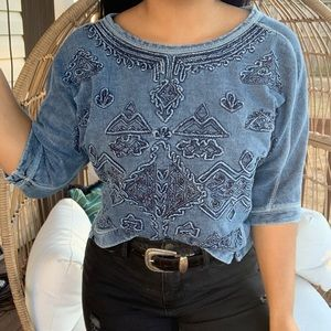 Urban Outfitters Ecote Boho 3D Graphic Top SZ S